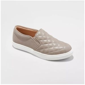 Reese Gray Taupe Quilted Slip-On Sneakers